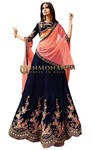 Embroidered Navy Blue Velvet Lehenga Choli