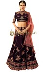 Embroidered Grape Velvet Lehenga Choli