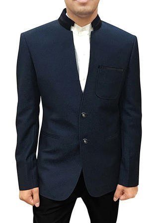 Mens Slim fit Casual Dark Navy Polyester Blazer sport jacket coat V Neck