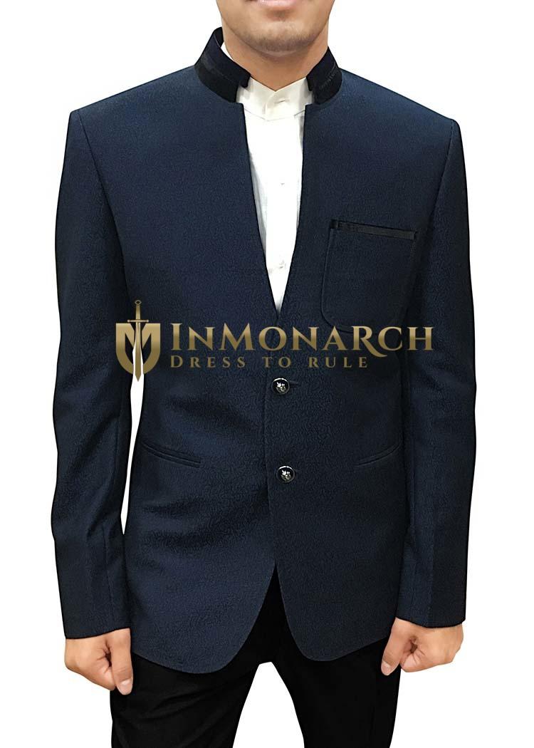 Dark Navy Mens V Neck Polyester Blazer Sport Jacket coat