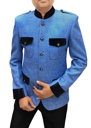 Mens Slim fit Casual Sky Blue Jute Jodhpuri Blazer sport jacket coat Safari Style