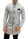 Sherwani for Men Silver Indowestern Indian Wedding Clothes Traditional