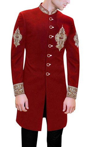 Red Sherwani Velvet Indowestern Embroidered Indian Wedding for Men