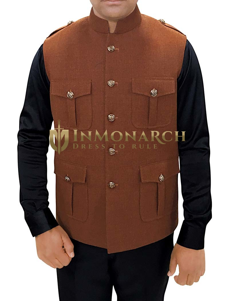 Mens Indian Vest Brown Wool Nehru Vest Safari Style
