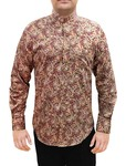 Mens Peach Printed Nehru Shirt Hawaiian