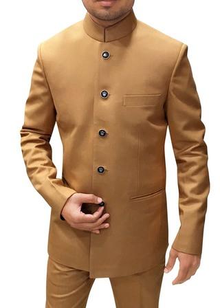 Mens Tan Color Polyester 2 Pc Jodhpuri Suit Wedding