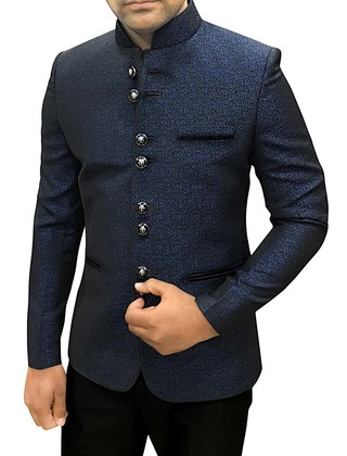 Mens Dark Navy Polyester 2 Pc Jodhpuri Suit Partywear
