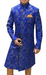 Mens Indo Western Royal Blue Silk Wedding Sherwani
