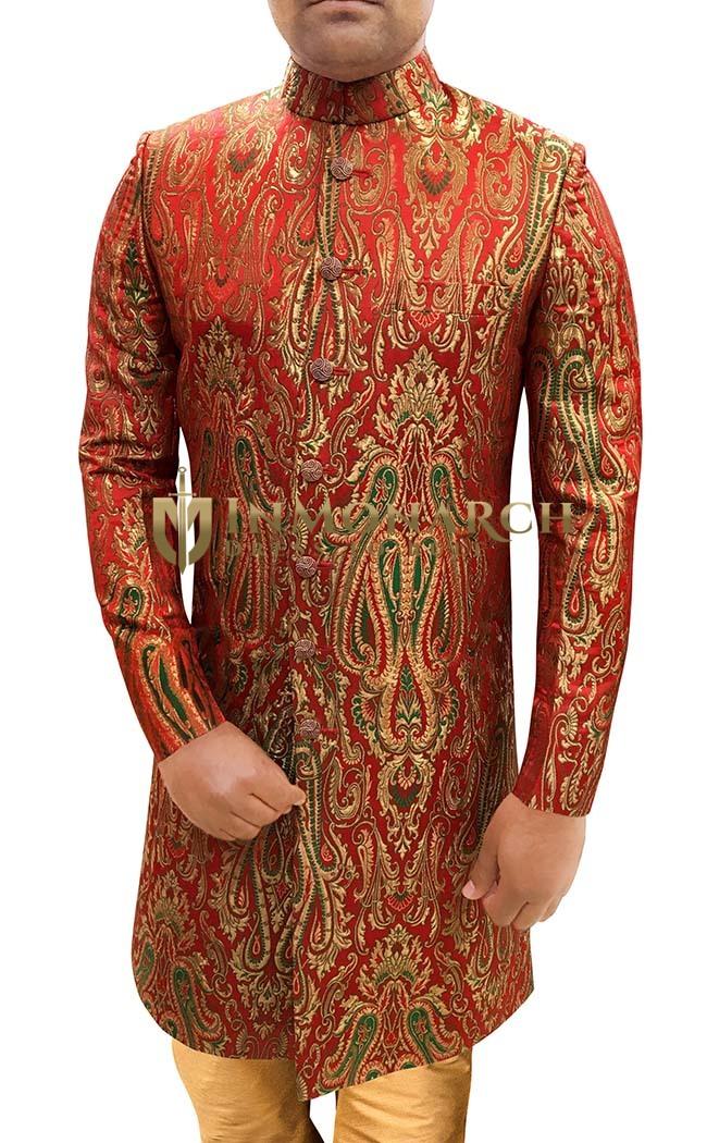 Mens Indian WeddingMen Red Sherwani For Wedding