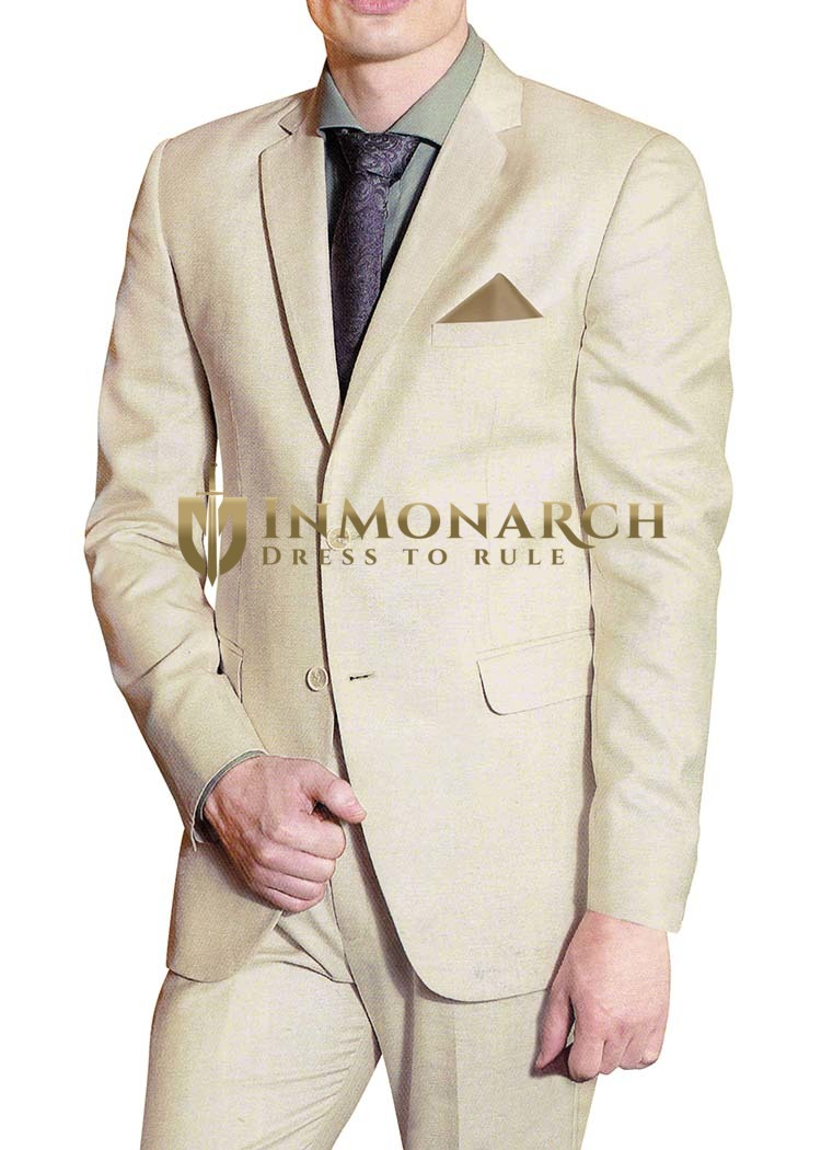 Mens Beige Polyester 5 Pc Partywear Suit Two Button