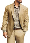 Mens Tan Wool Polyester 2 Pc Partywear Suit Notch Lapel