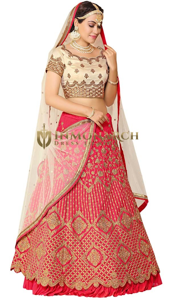 Crimson Art Silk Bridal Lehenga Choli