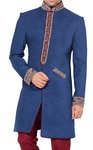 Sherwani for Men Wedding Blue  Indowestern Hand Embroidered