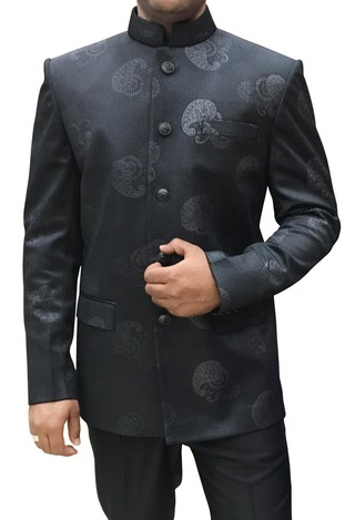 Men Dark Gray Polyester 2 Pc Jodhpuri Suit Paisley Print