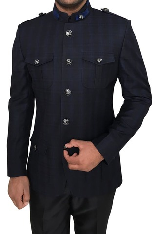 Men Navy Blue Polyester 2 Pc Jodhpuri Suit 5 Button