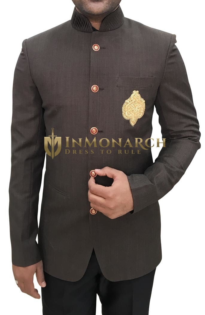 Men Brown Polyester 2 Pc Jodhpuri Suit Embroidered