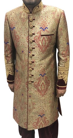 Mens Golden Brocade 2 Pc Embroidered Sherwani