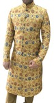 Groom Sherwani For Men Yellow Floral Print Western Attire Sherwani For Men