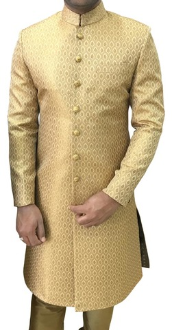 Mens Indian Wedding Men Western Attire Golden Sherwani Jodhpuri