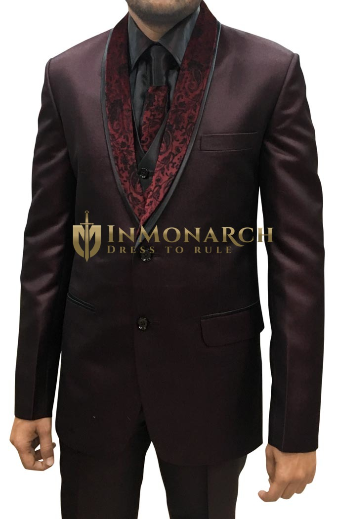 Mens Wine 5 pc Party Tuxedo