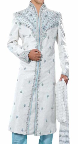 Mens White Brocade 3 Pc Sherwani Partywear