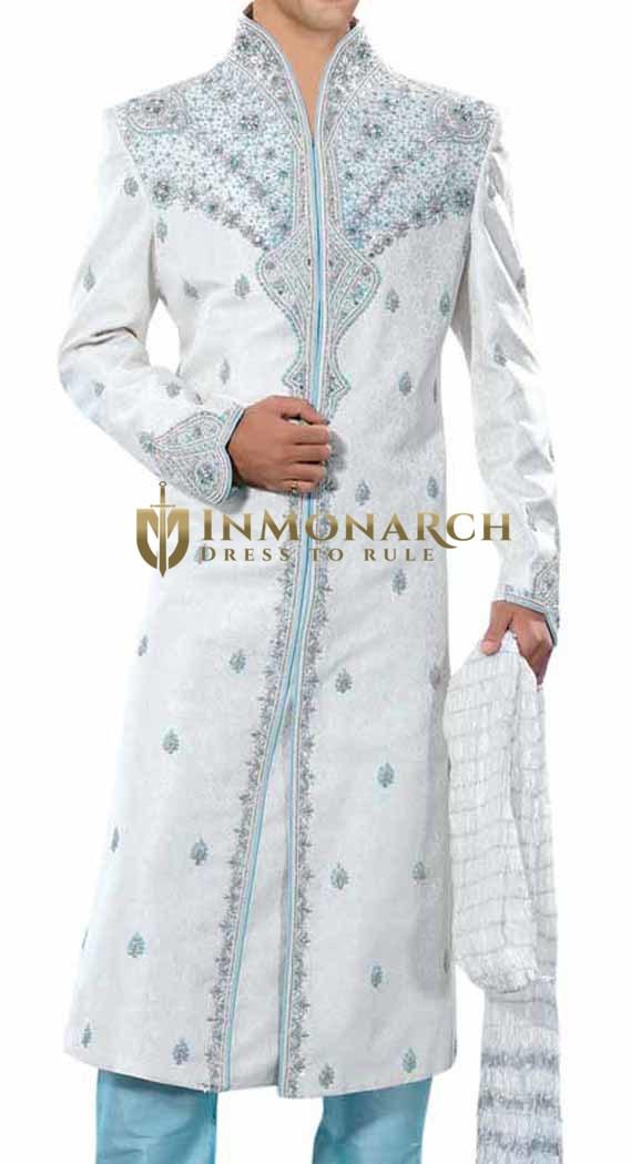 Mens IndianSherwani White Sherwani Partywear Indo WesternOutfit