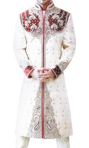 Mens Cream Brocade 2 Pc Sherwani Stylish Embroidered