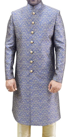 Mens Blue Brocade 2 Pc Sherwani Ethnic