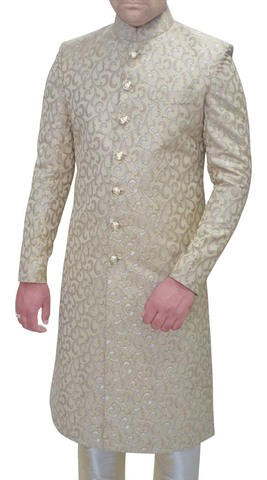Mens Silver Brocade 2 Pc Sherwani Indian Wedding