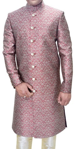Mens Red Brocade 2 Pc Wedding Sherwani Traditional