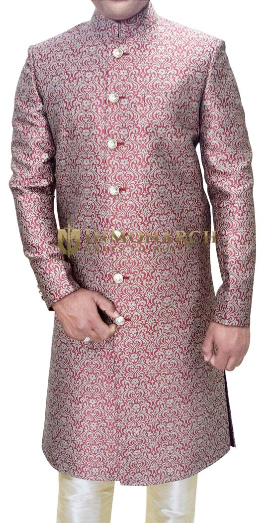 Mens Sherwani Red Wedding Sherwani Traditional Indo Western Outfit