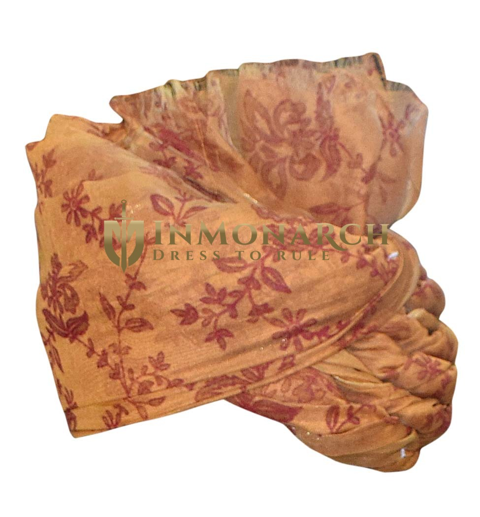 Mens Rust Color Silk Turban Rajasthani Style