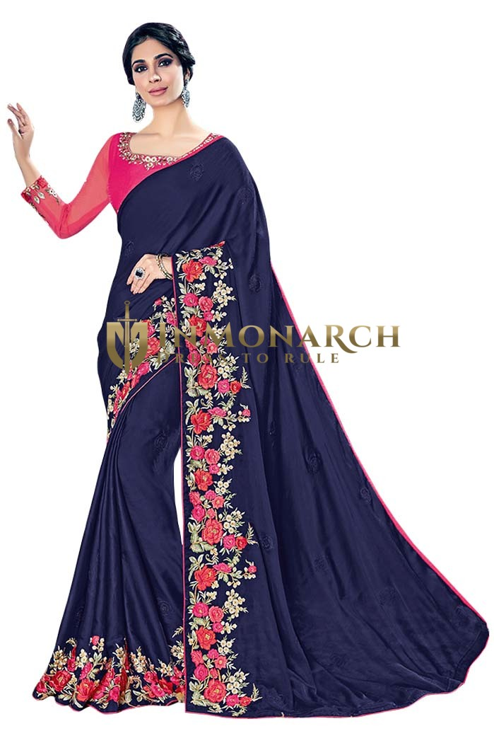 Navy Blue Silk Georgette Wedding Saree