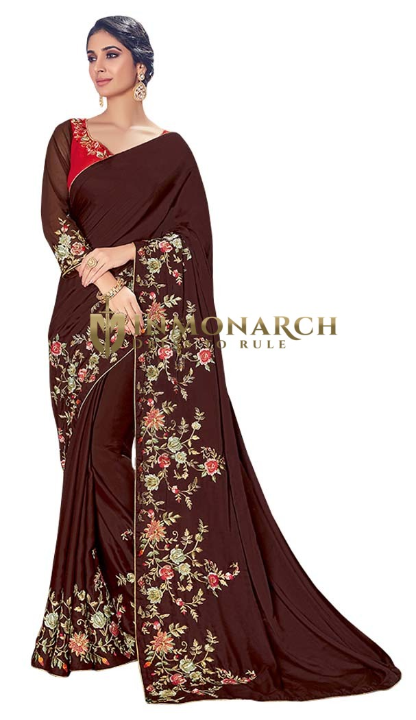 Brown Silk Georgette Partywear Saree