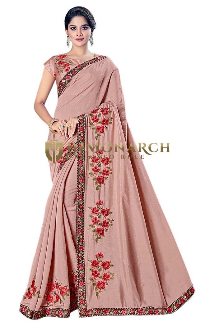 Traditional Pink Silk Bridal Saree