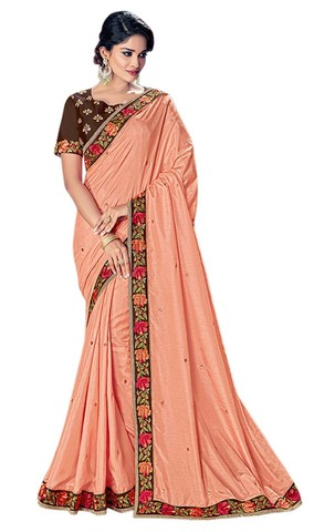Peach Silk Indian Bollywood Saree
