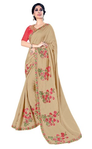 Tan Color Silk Partywear Saree