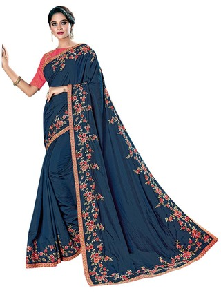 Dark Navy Dual Tone Silk Wedding Saree