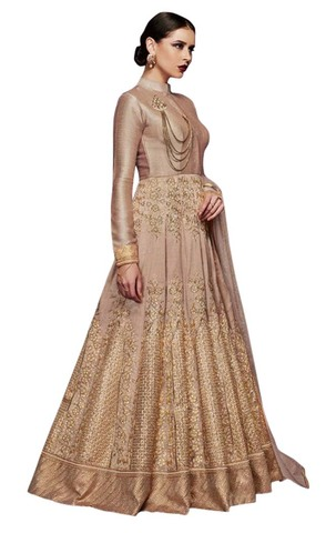Copper Color Handloom Silk Anarkali Suit