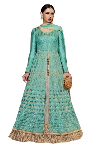 Turquoise Handloom Silk Anarkali Suits