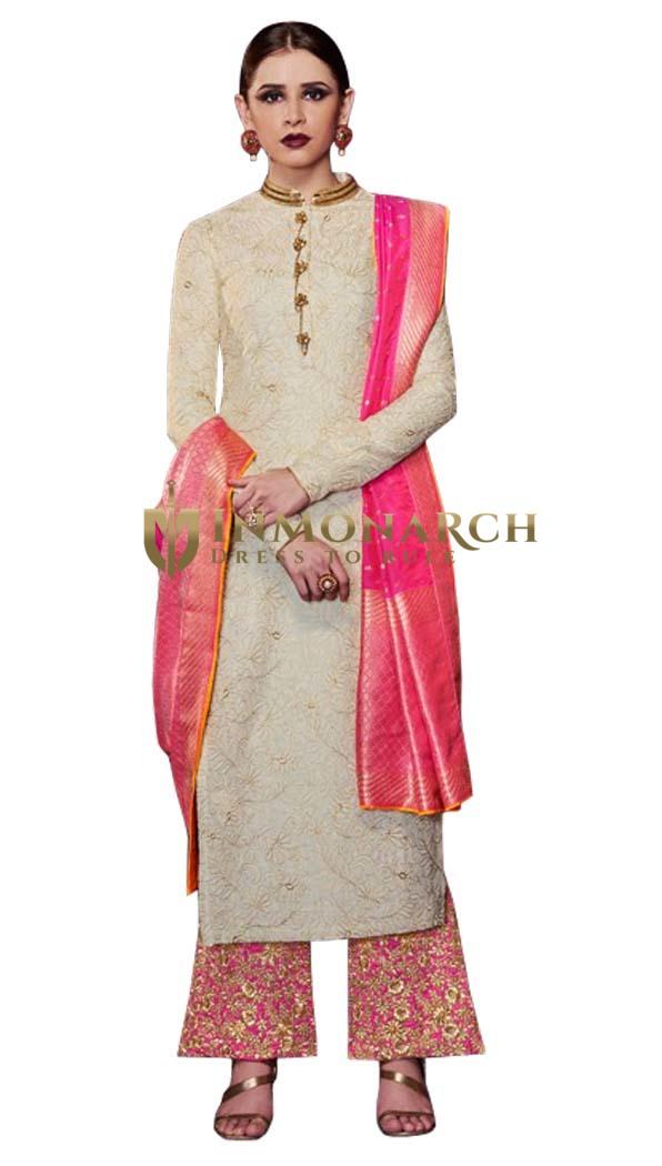 Cream Handloom Silk Salwar Kameez