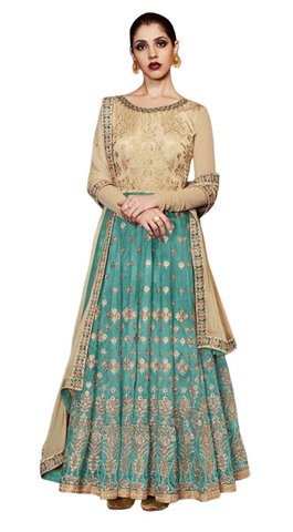 Beige and Teal Handloom Silk Anarkali Suits