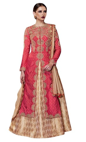 Crimson Printed Tussar Silk Anarkali Suit
