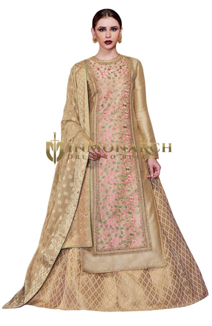 Beige and Pink Handloom Silk Anarkali Suit