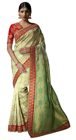 Peach and Red Pure Viscose Designer Saree