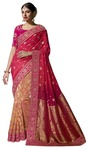 Salmon Pure Viscose Bridal Wedding Saree