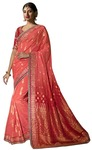 Salmon Pure Viscose Partywear Saree