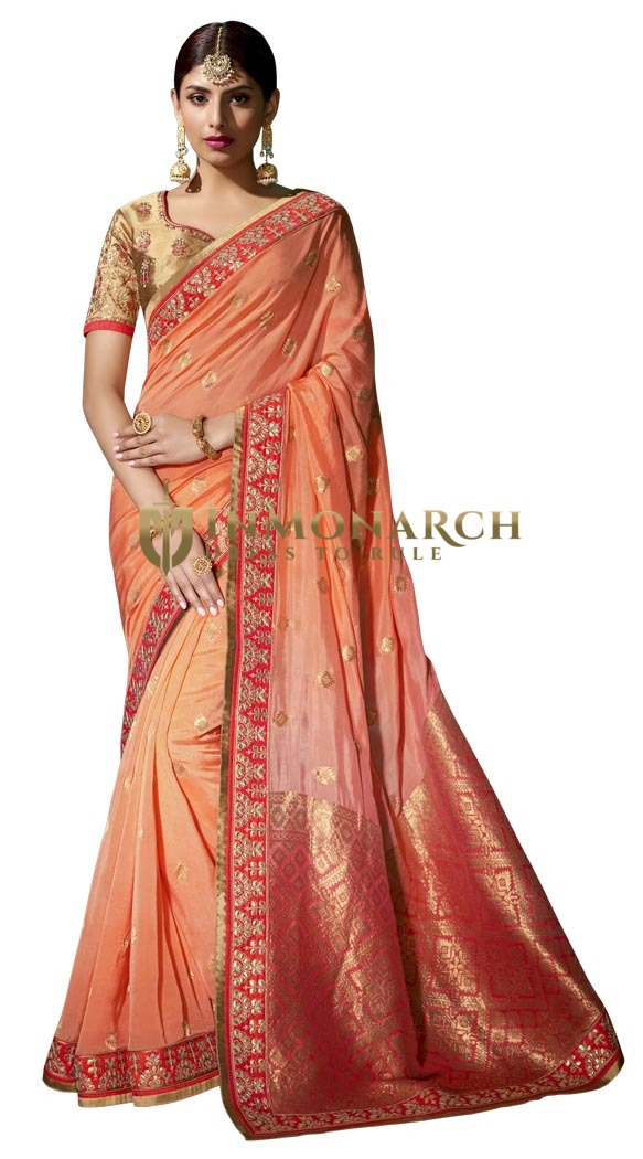 Light Orange Pure Viscose Designer Saree