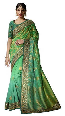 Shaded Light Green Pure Viscose Bridal Saree