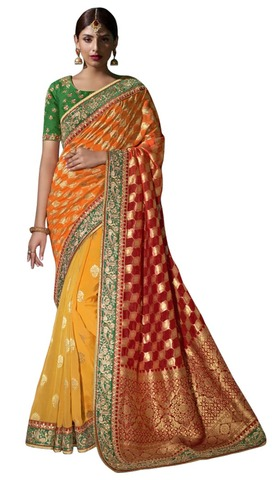 Traditional Yellow Pure Viscose Saree